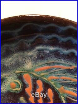 Vintage 1989 Harding Black Pottery Bowl with Fish Beautiful Coloring