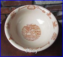 Vintage 49er Wallace China Serving Bowl Western Americana Pioneer Gold Miner
