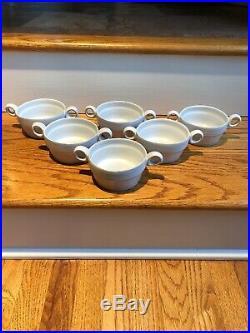Vintage 6 Bennington Pottery 1765 David Gil Double Handled Soup Bowls
