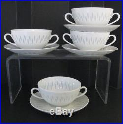 Vintage ARABIA Finland rice porcelain cream soup bowls withliners, Midcentury