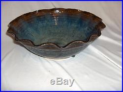 Vintage A&A Art Pottery Centerpiece Bowl Wavy Edge Blue Brown RARE