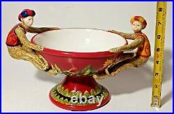 Vintage Abigails Ceramic Capote bowl flower Motif Monkeys Accents on side. Rare