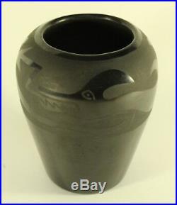 Vintage Agapita Tafoya Santa Clara Large Black on Black Avanyu Pottery Bowl Vase