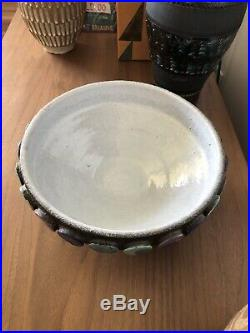 Vintage Aldo Londi BITOSSI POTTERY Italian Modern Ceramic Glaze Mid Century Dots