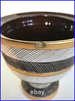Vintage Aldo Londi Bitossi Seta Bowl Lid Gold Brown Italian Mid Cemtury Modern