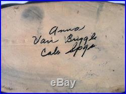 Vintage Anna Van Briggle Art Pottery Drip Lava Flow Cobalt Blue Ruffle Bowl Vase
