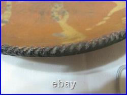 Vintage Antique 1800's Pennsylvania Redware Yellow Slip Decorated Shallow Bowl