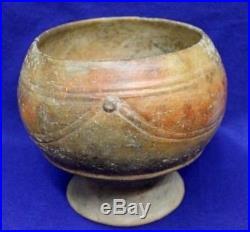 Vintage Antique Circa 400-600 BC Guatemala Mayan Pedestal Base Bowl Pottery