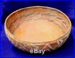 Vintage Antique Circa 800-1200 A. D Arizona St. Johns Polychrome Bowl Pottery