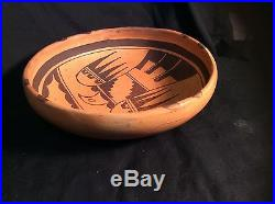 Vintage Antique Hopi Indian Pottery Bowl with eagle, Titled and signed