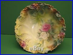 Vintage Antique RS PRUSSIA 10 1/2 in Floral Hand Painted Bowl Marked RED STAR