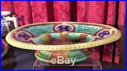 Vintage Antique Victorian Majolica Mottled Center Compote Bowl Serving Dish