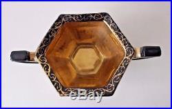Vintage Art Deco Black and Gold Ceramic Painted Milk Jug Sugar Bowl Japanese