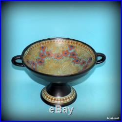 Vintage Art-crafts Gouda Z-holland Dutch Holland Folk Art Deco Tazza Footed Bowl