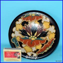 Vintage Art-crafts Gouda Zuid-holland Regina Dutch Folk Art Deco Footed Bowl