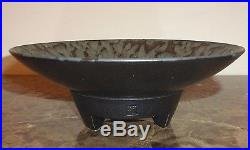Vintage Asian Footed Art Pottery Bowl with Stamp
