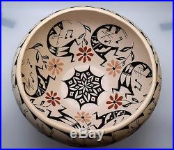 Vintage Barbara Cerno Large Acoma Pueblo Bowl/wonderful Painting/free Ship