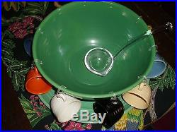 Vintage Bauer Pottery Ringware Jade Green 14 Punch Bowl, 17 Chop Plate, 10 Cups
