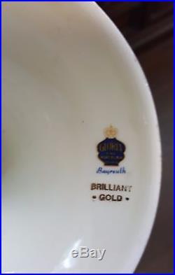 Vintage Bavaria Bayreuth Germany 22K Gold Floral Porcelain Pedestal Bowl Compote