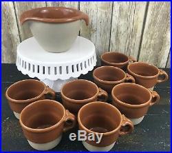 Vintage Bennington Potters Vermont 1879 Batter Bowl and 8 Stackable 1960 Cups