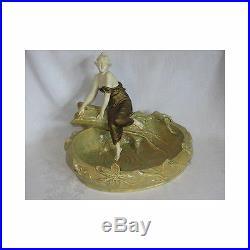 Vintage Bernard Bloch BB Ceramic Sculpture Statue Woman Bowl Art Nouveau Th Scho