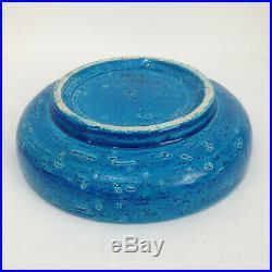 Vintage Bitossi Pottery Aldo Londi Italy Fritte Mondrian Rimini Blue Bowl