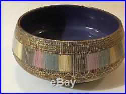 Vintage Bitossi Pottery Bowl Aldo Londi Seta Range Line Italy Pastel Shade Gold