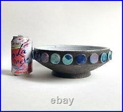 Vintage Bitossi Pottery Centerpiece Bowl Polka Dot Decor, 1950s Italy Aldo Londi