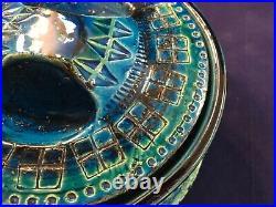 Vintage Bitossi Rimini Blue Candy Dish Lidded Box Rare Italy Aldo Londi MCM