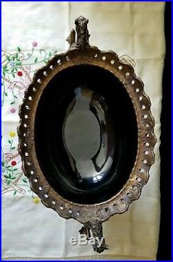 Vintage Black Bronze Porcelain Castilian Centerpiece Bowl Cherubs Horses