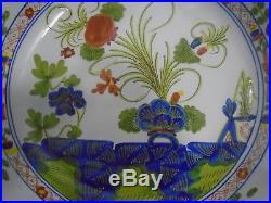 Vintage Cacf Faenza Blue Carnation Italian Pottery Bowl 11