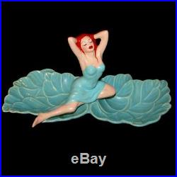 Vintage California Pottery 2 Dish Tray Bowl with Pinup Bathing Beauty Finale