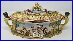 Vintage Capodimonte Porcelain Lidded Dish Bowl Tureen Cherubs Relief Italy