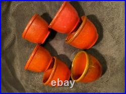 Vintage Catalina Island pottery custard cups Toyon red in color