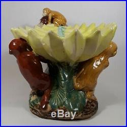 Vintage Ceramic Majolica Monkeys with Banana Bowl