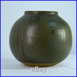 Vintage Charles Counts Beaver Ridge 1959-1961 Studio Pottery Bowl Vase MCM Green