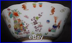 Vintage Chinese Hand Painted Pottery Porcelain Flowe Bowl Mark Qianlong FA555
