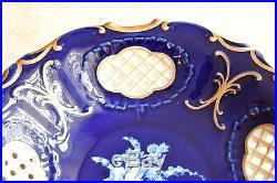 Vintage Czech Bohemian Cobalt Blue Porcelain Reticulated Plate Bowl PirkenHammer
