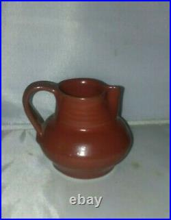 Vintage DEICHMANN POTTERY MAROON RED LOW Pitcher Creamer 3 Canada Nova Scotia