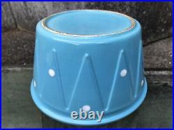 Vintage DIANA Pottery Blue Polka Dot Spots Kitchen Bowl Large Size 20cm Across