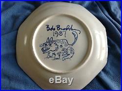 Vintage Davila Brodsky Rabbit Artworks Large Octagonal Arched Bowl 1987