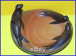 Vintage Denmark Ipsen P&E Art Pottery Sea Lion / Seals Shallow Bowl #143
