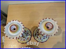 Vintage Deruta Italian Pottery Candlesticks And Bowl Set