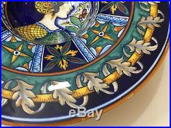 Vintage Deruta Italy Majolica Dip. A Mano, For Biordi S. F Ceramic Portrait Bowl