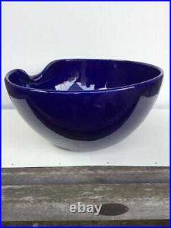 Vintage Elsa Peretti TIFFANY & CO Cobalt Blue Glazed Thumbprint BOWL Italy 9