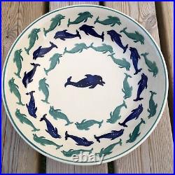 Vintage Emma Bridgewater Blue & Green Dolphin Serving Bowl Dish 11 1993 Rare