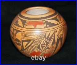 Vintage Emmaline Naha Hopi Pueblo Traditional Polychrome Pottery Bowl c. 1980's