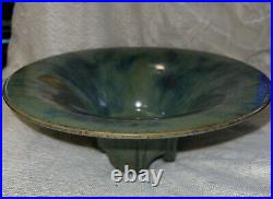 Vintage FULPER Pottery Footed Green Glaze Flambe Bowl Incised Mark 10 Diameter