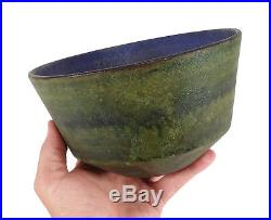 Vintage Fantoni Raymor Italian Art Pottery Bowl Textured Blue Green Glazes Italy