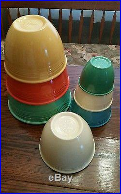 Vintage Fiesta Fiestaware Pottery Primary Colors Graduated Mixing Bowl Set 1-7